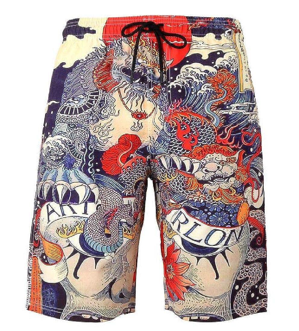Domple Men Stretch Waist Oversized Sports Summer Printing Beach Hawaiian Shorts