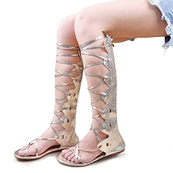 d24b4909cba Kattee Women s Comfy Lace Up Flat Knee High Gladiator Sandals Gold Color ...