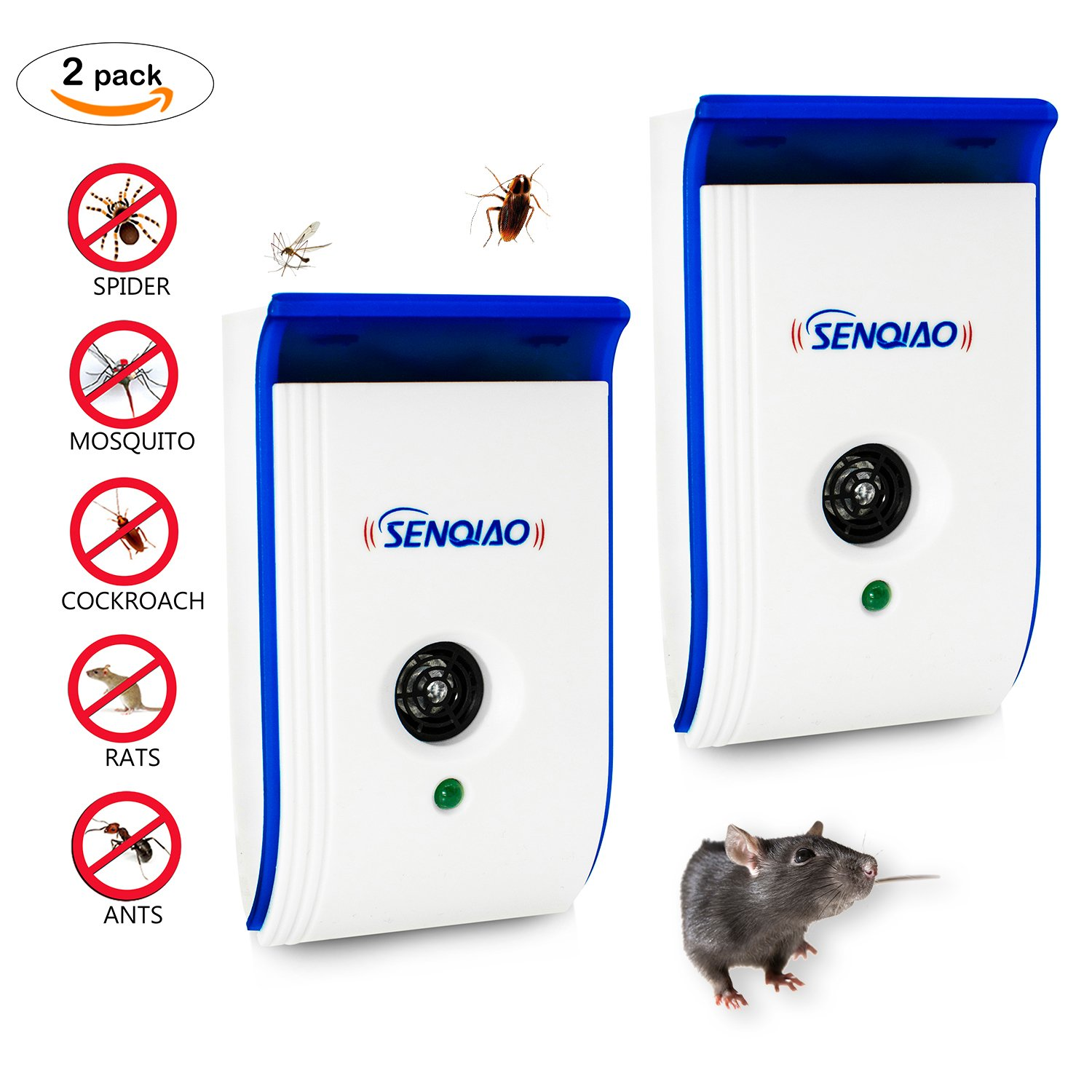 Ultrasonic Pest Repellent,Senqiao Electronic Insect Repeller Control, Repellent For Rodent