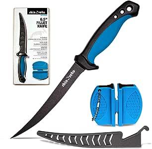 Cuchillo filete de pescado rinoeto. Hoja flexible de acero inoxidable. Filet cuchillos para peces con vaina y sacapuntas. (6,5)