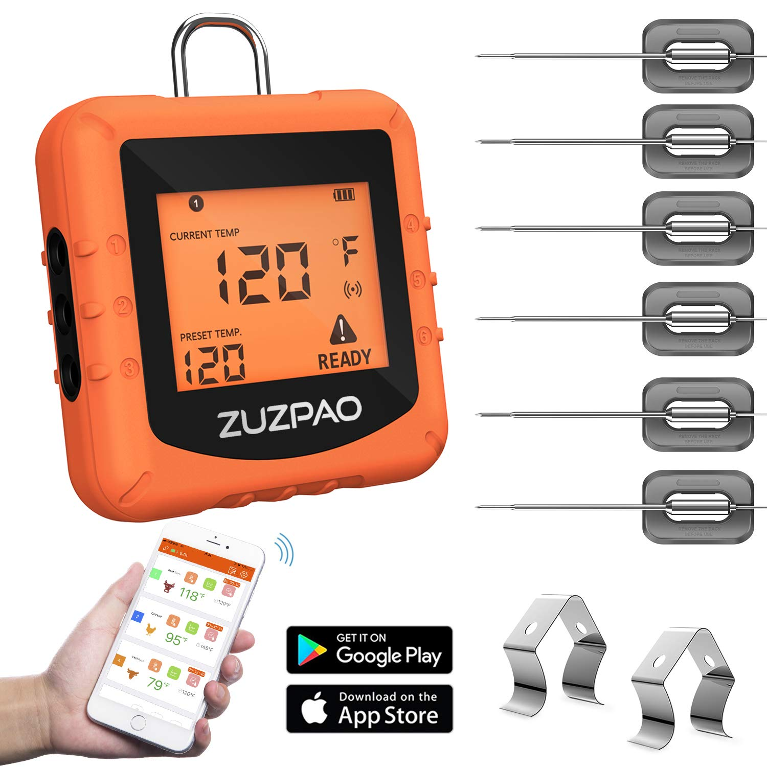 Meat Thermometer for Grilling, Zuzpao Wireless Digital BBQ Smoker Grill Remote Thermometer 6 Stainless Steel Probes and Smart APP Temperature Setting, Alarm Monitor Kitchen Cooking Thermometer