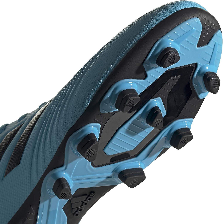 adidas Predator 19.4 S Firm Ground, Chaussure de Football Homme Bleu Cyan Noir Jaune Fluo