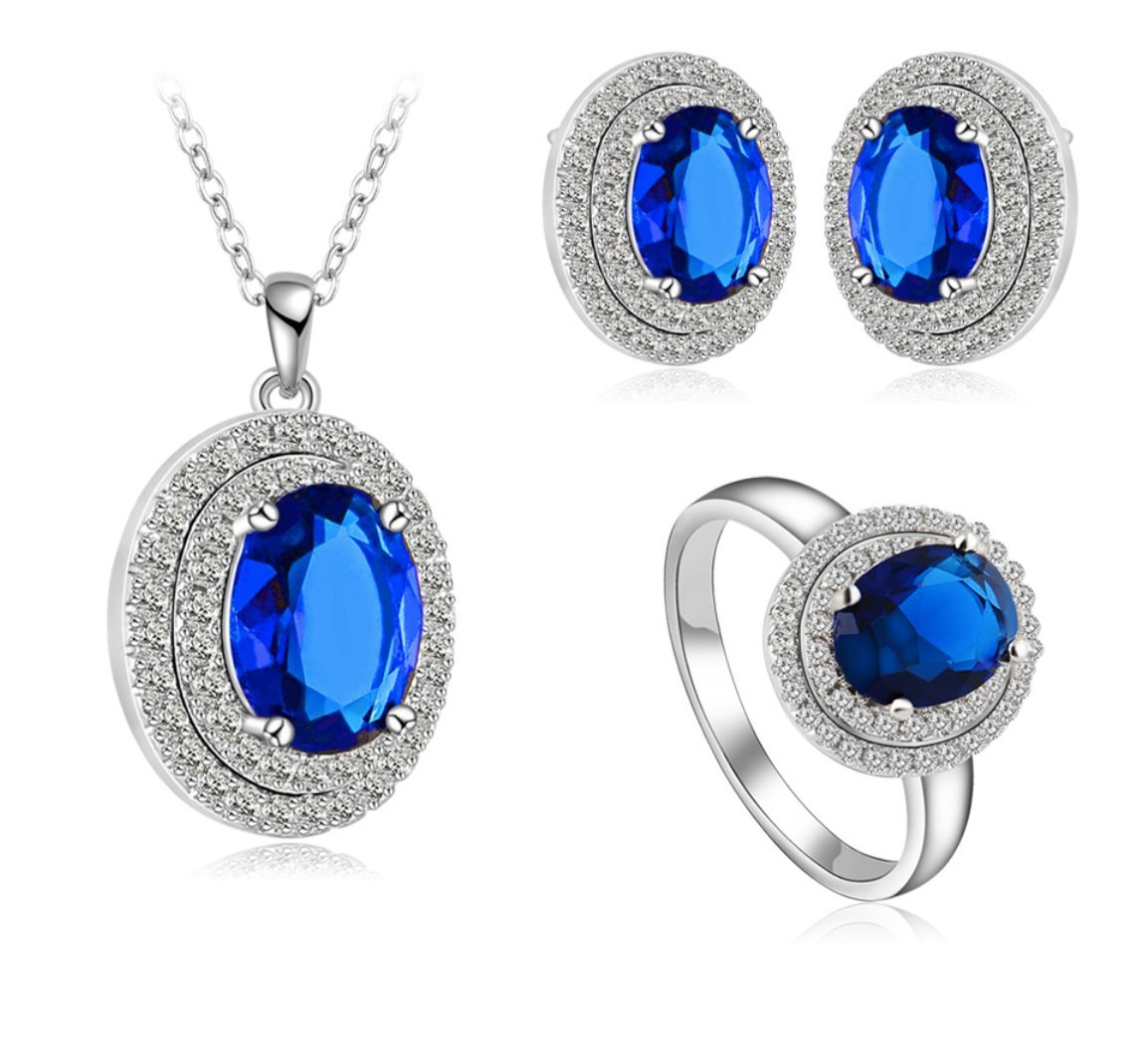 Elegant Gold Plated Sapphire Jewelry Sets Fashion Necklace Earrings Gift - September birthstone