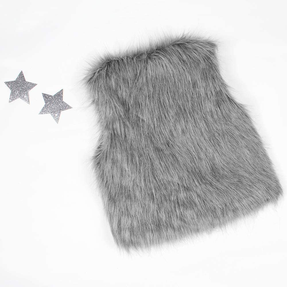 WARMSHOP Girls Sleeveless Solid Faux Fur Waistcoat Fashion Warm Girls Autumn Winter Outwear Casual Vest Top
