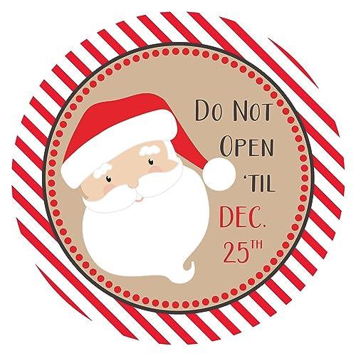 25 Natale.Babbo Natale Non Aprire Fino Al 25 Dicembre Adesivi Natalizi Per Le Feste Etichette Per Confezioni Regalo Set Di 30 Amazon It Handmade