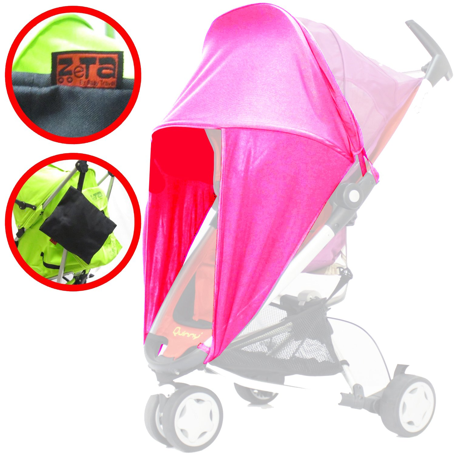 Pink Universal Fit for Pushchair with Side Protection Sunny Sail