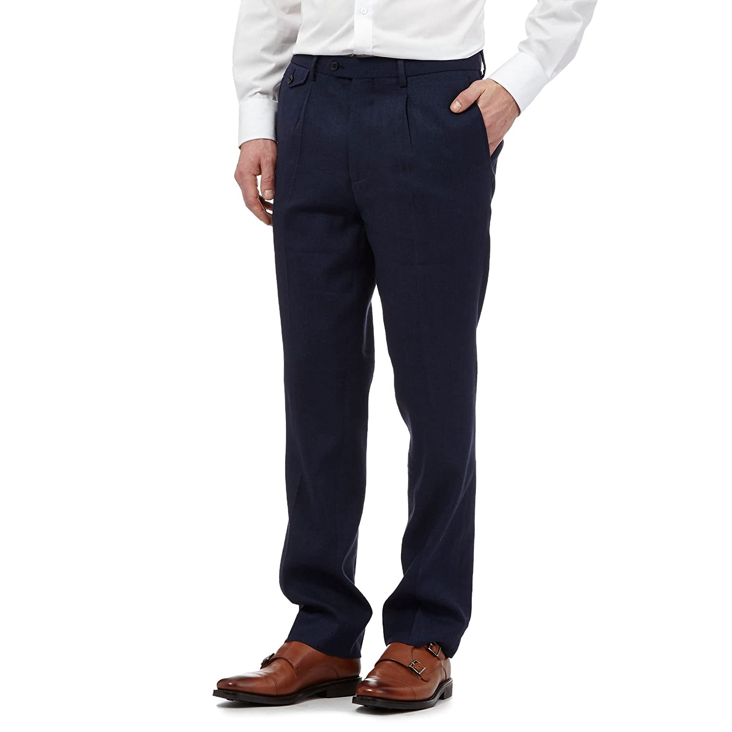 Hammond & Co. By Patrick Grant Mens Navy Linen-Blend Trousers