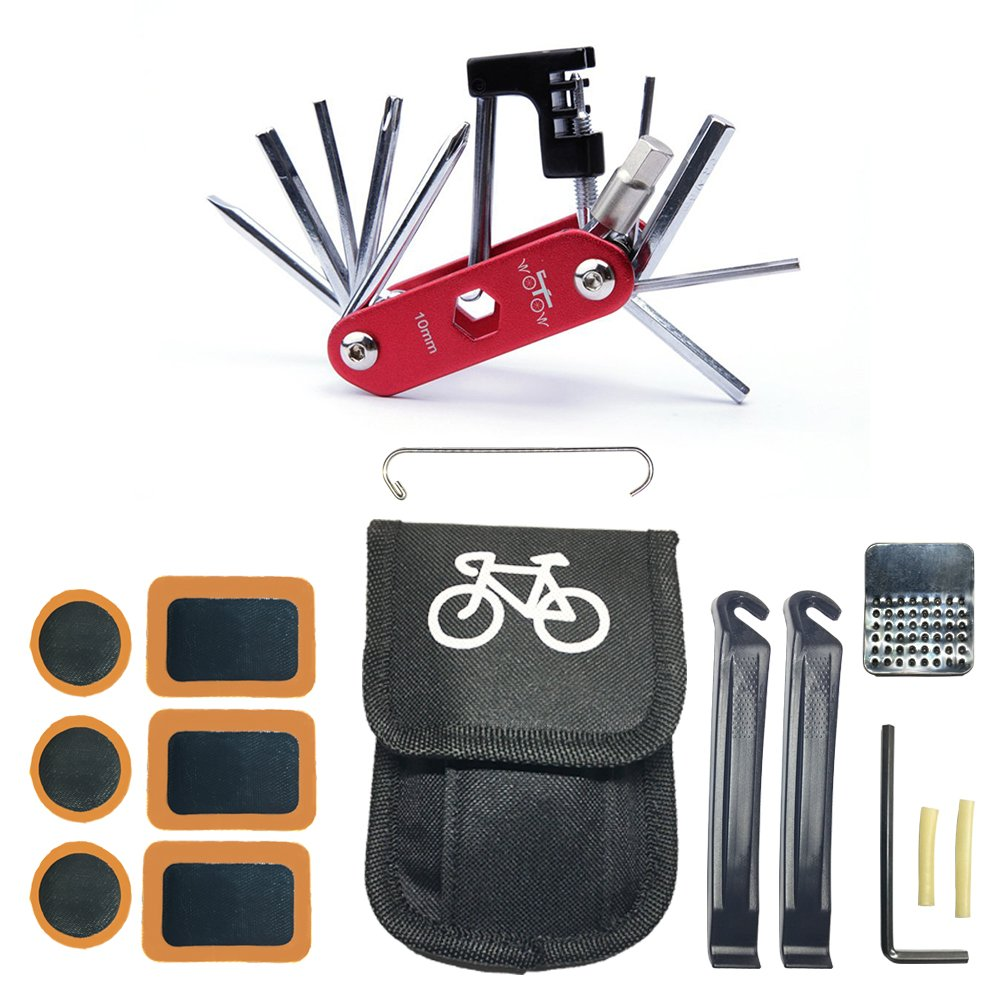 WOTOW Bicycle Repair Set Bike Outdoor Seat Saddle Bag 14 in 1 Multi Function Tool Kit, Black