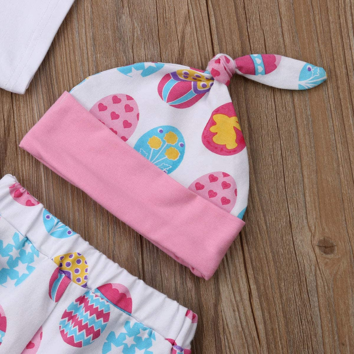 Headband Suit Clothes Set Easter Egg Pants Hat 4 Pezzi Toddler Baby Girl Easter My First Easter Letter Print Tuta