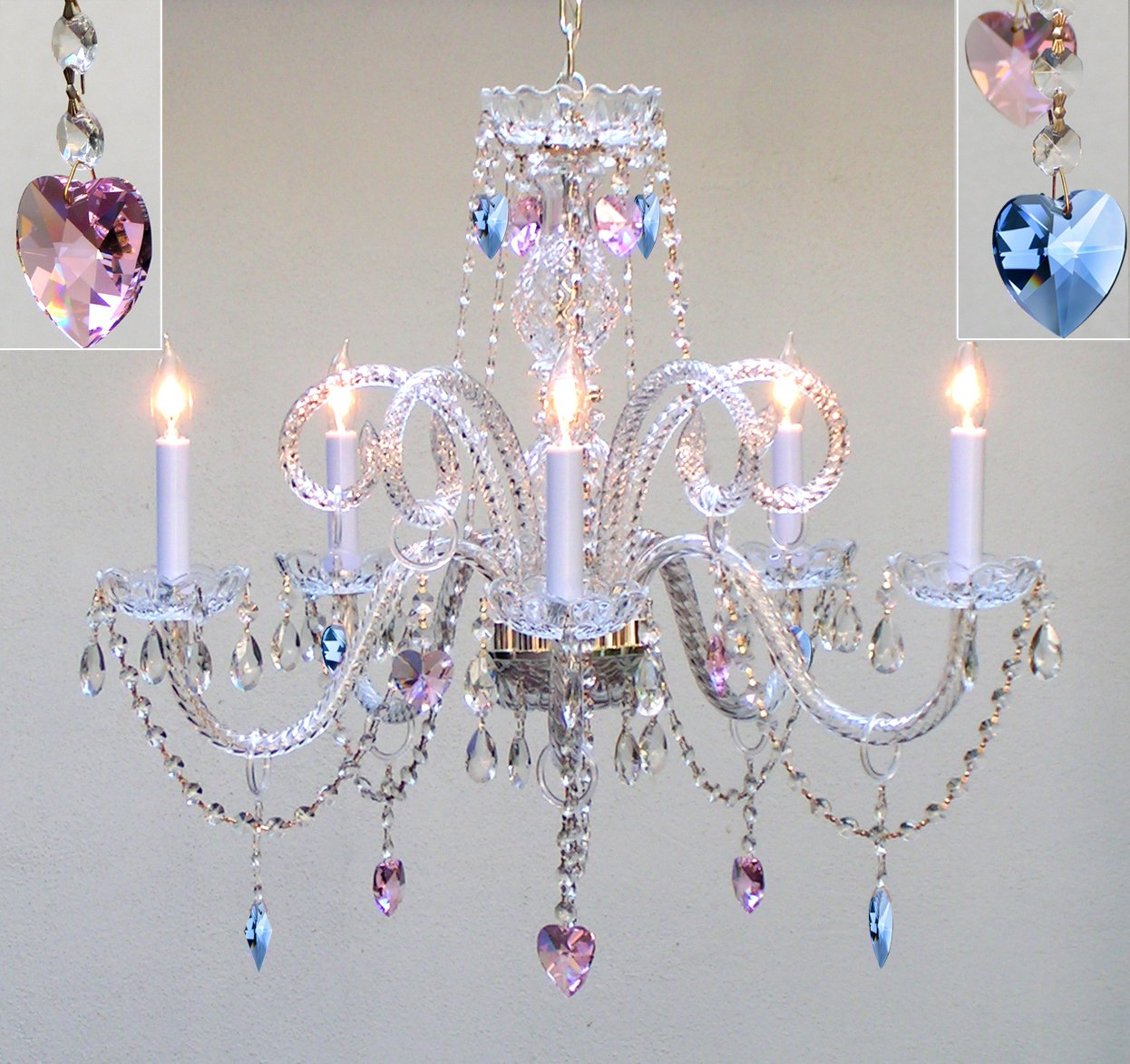 """Authentic All Crystal Chandelier Chandeliers Lighting With Sapphire Blue & Pink Crystal Hearts! Perfect for Living Room, Dining Room, Kitchen, Kid's Bedroom! H25"""" W24"""""""