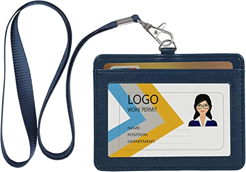 Black//Brown Horizontal ID badge holder Durable Leather Wristlet with Vertical