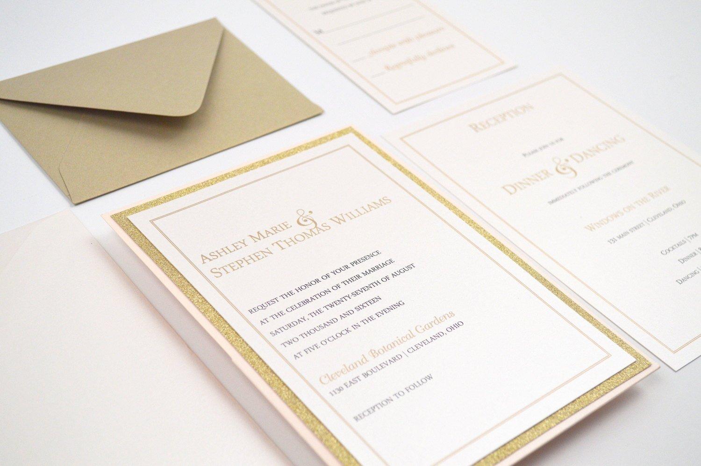 Amazon.com: Simple Romantic Panel Pocket Wedding Invitation Sample ...