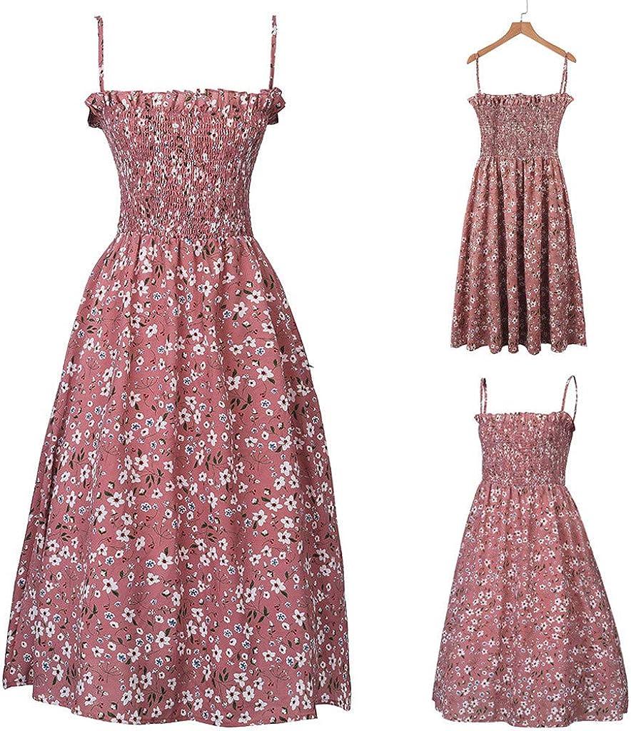 iCJJL Women Sleeveless Spaghetti Straps Floral Print Cute Ruffle Retro Pleated Casual Loose Cami Maxi Dress
