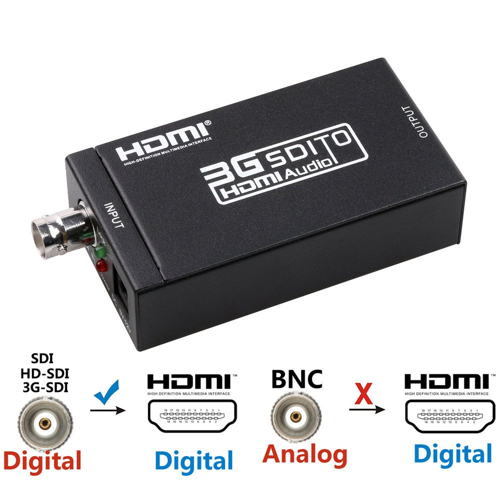 SDI to HDMI Converter SDI Splitter BNC In HDMI Out Adapter - Full HD 1080P SDI to HDTV Video Convertor with Embedded Audio by HD-SDI SD-SDI & 3G-SDI Signals Display Monitor Camera Home Theater (Black)