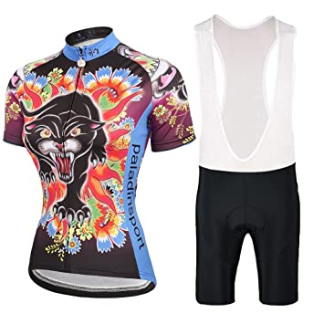 BigTree Cycling Jersey and Bib Shorts Sets Short Sleeve Road Biking MTB  Sportswear for Women Ladies Black Leopard  Amazon.co.uk  Sports   Outdoors 822730c2d