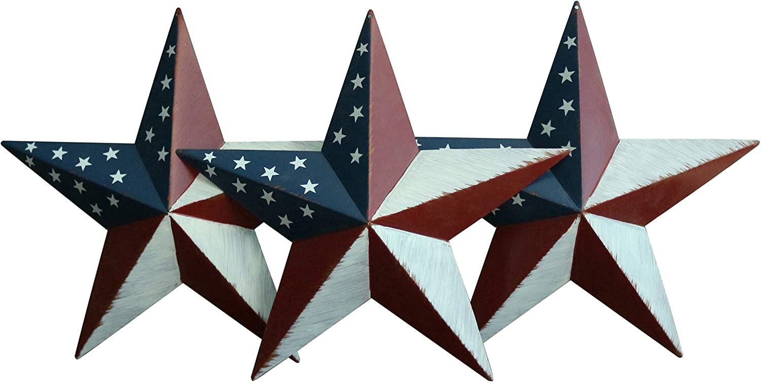 CVHOMEDECO. Rustic Antique Gifts American Flag Metal Barn Star Wall/Door Decor, 12-Inch, Set of 3.