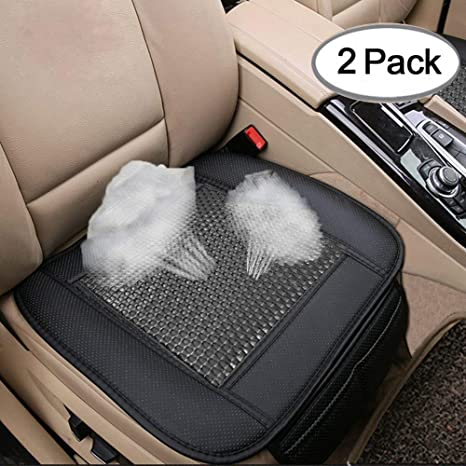 2pc Car Seat Cushion Breathable Rattan Design Pad Covers For Office Chair With PU Leather