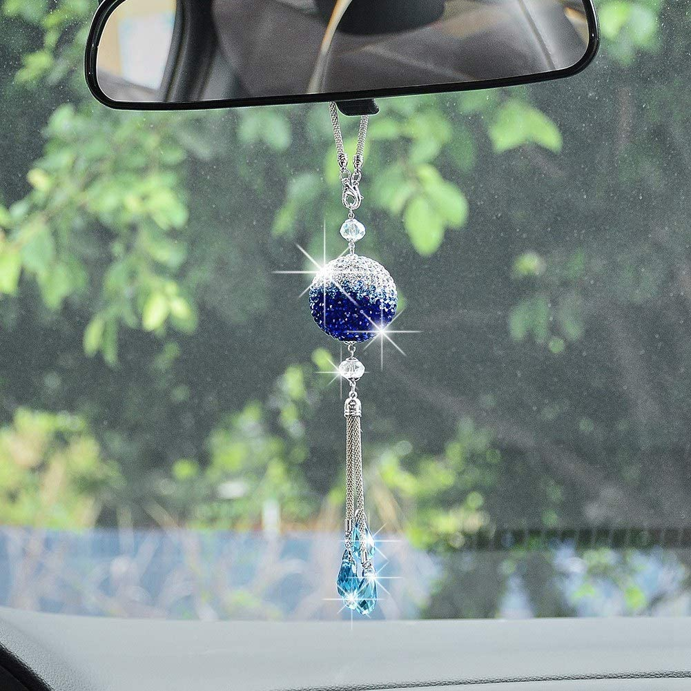 Blue and White XhuangTech Bling Car Hanging Ornament for Women Bling Car Decoration Crystal Ball Car Rear View Mirror Pendant,Hanging Bling Mirror Charms Luck Car Interior Accessories
