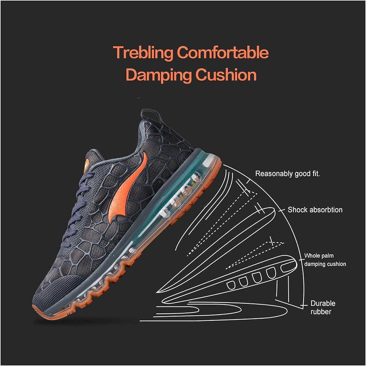ONEMIX Chaussures de Sport Homme Running Compétition Sneakers Trail Entraînement Course Coussin d'air Basket Lake Blue Orange