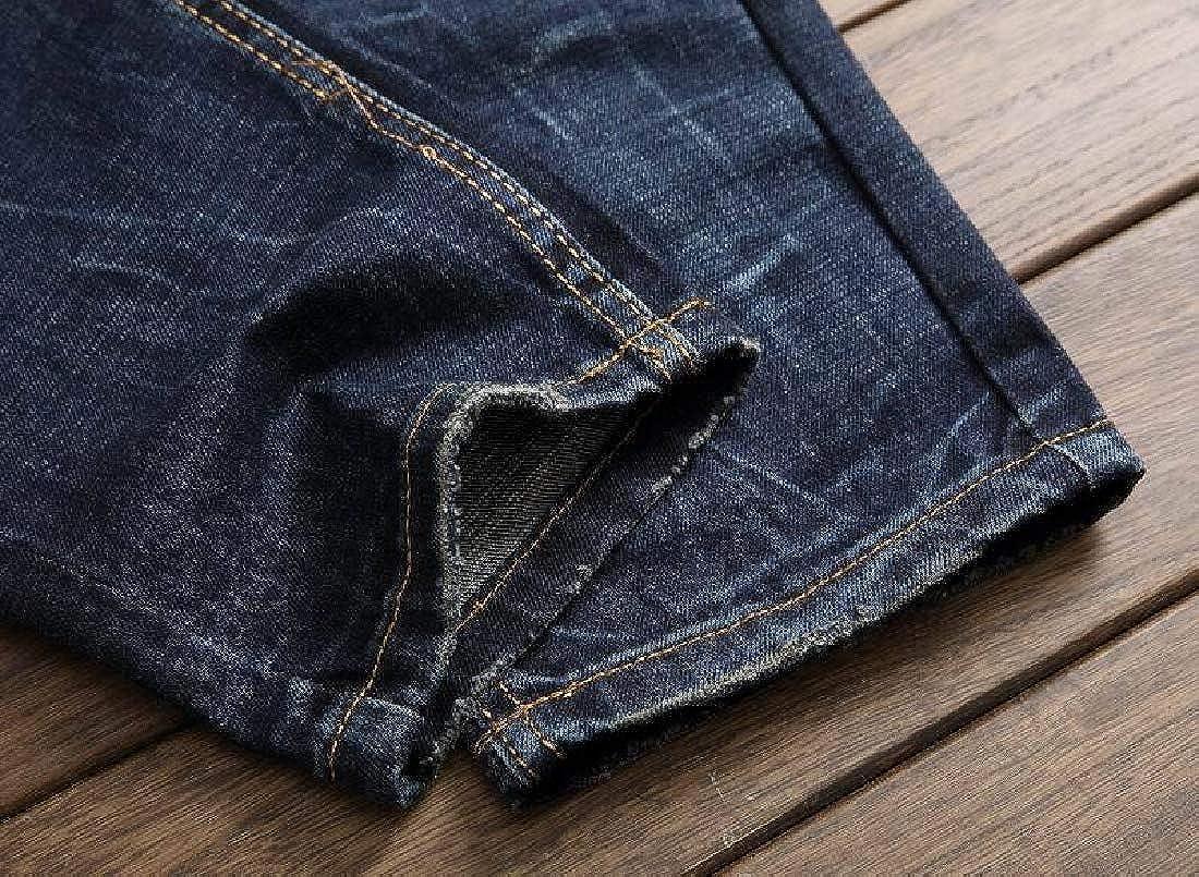 Abetteric Mens Biker Straight Fit Denim Long Pants Pencil Jeans Pants
