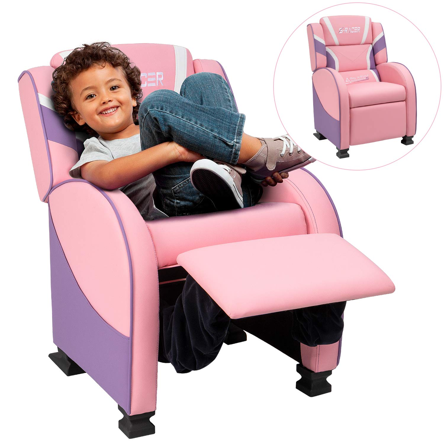 Homall Kids Recliner Chair, Lounge Furniture for Boys & Girls PU Leather Single Living Bed Room Chair Children Sofa (Pink) by Homall