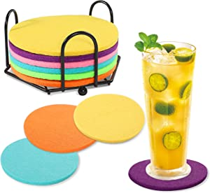 Tikea Felt Coasters - 8PCS Absorbent Coasters and 2PCS Car Coasters, Thick Plain Heat-Resistant Saucers for Drinks Wine Cups Beverages, 5mm Thick with Coaster Holder