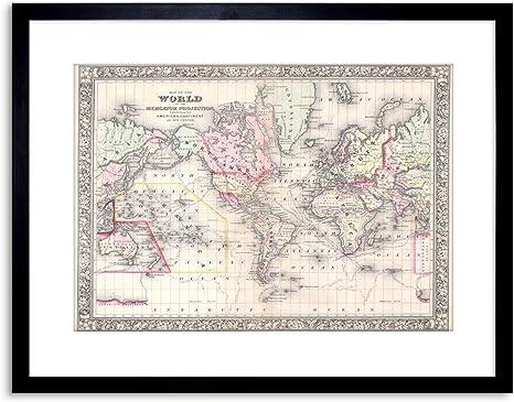 Mitchell/'s World Map Black Framed Wall Art Print Map Home Decor