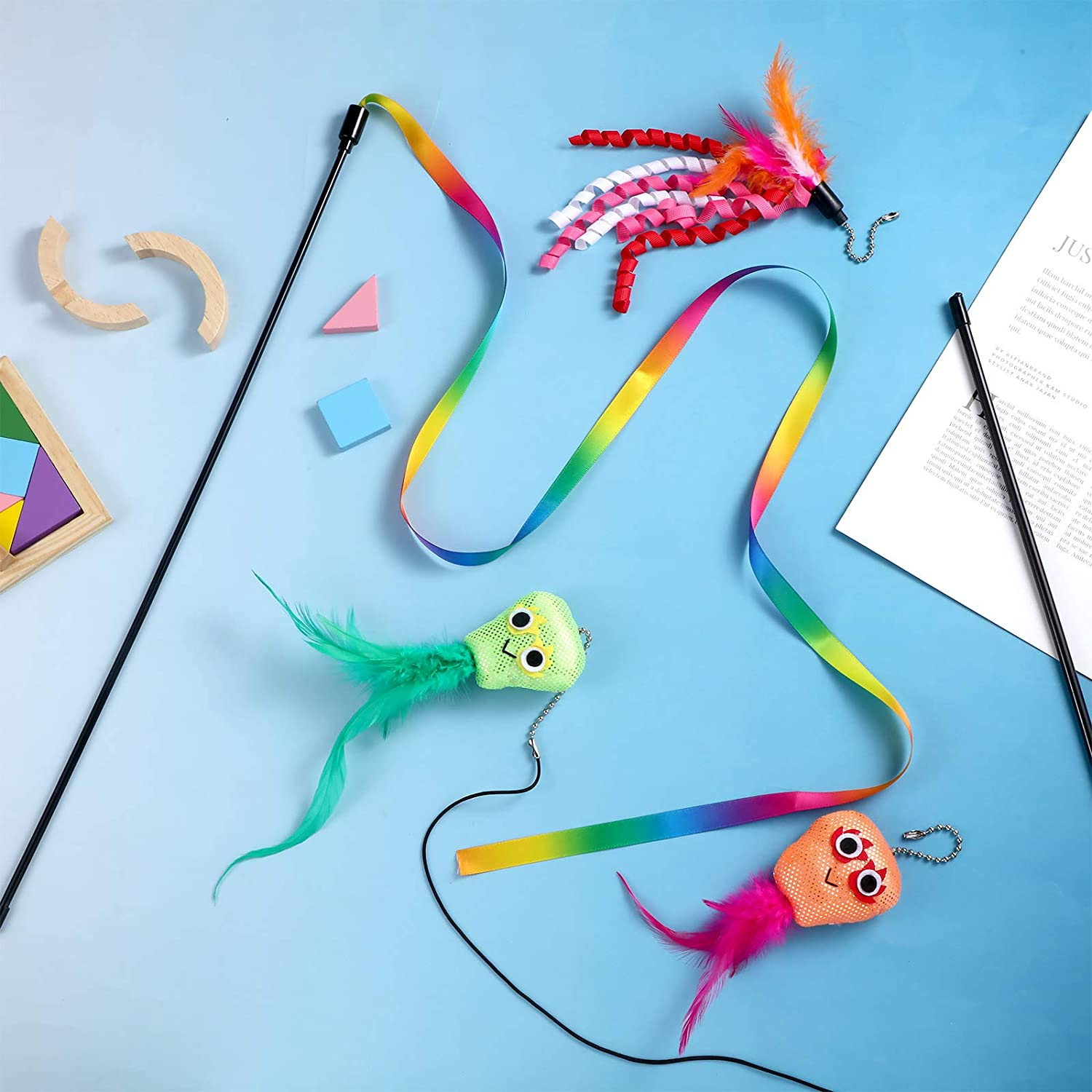 Skylety 6 Pieces Cat Wand Toys Interactive Feather Cat String Catcher Teaser Toys with Bell Attachment Replacements Rainbow Leopard Jungle Toys Colorful and Sounding for Cat Kitten Training Exerciser