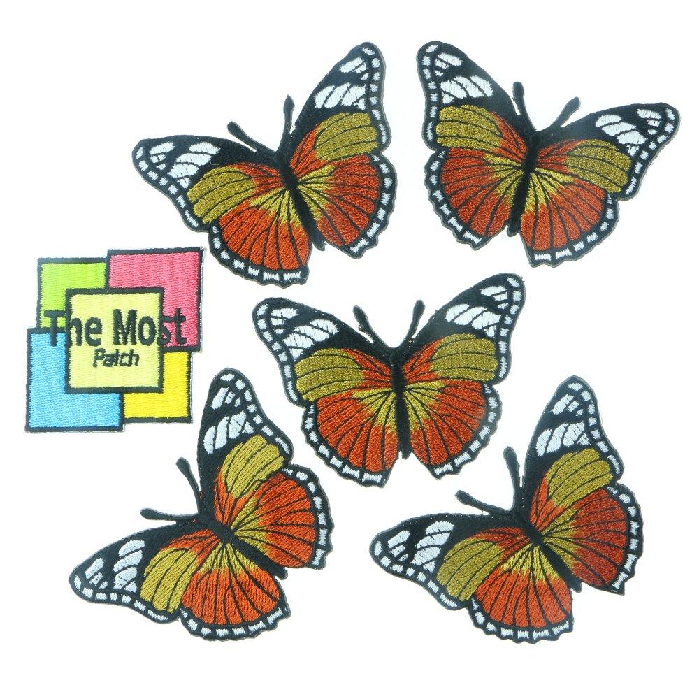 Lot of 6 ( 5 + 1 )バタフライ美しいカラフルなレトロヒッピー刺繍アイロン/ Sew Onパッチ Yellow-Orange  Yellow-Orange B01DPALS4S