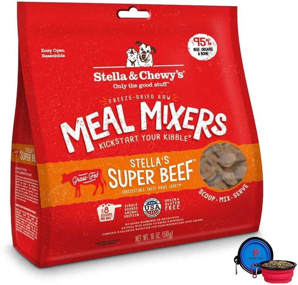 Stella & Chewy's Freeze Dried Dog Food,Snacks Super Meal Mixers 18-Ounce Bag, Bundle Pack with Hotspot Pets Food Bowl (Super Beef)