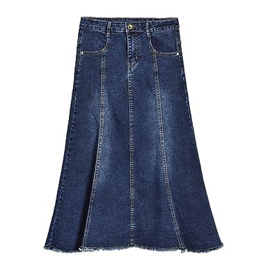 Functionaryb Faldas de Mezclilla largas de otoño para Mujer Tallas ...