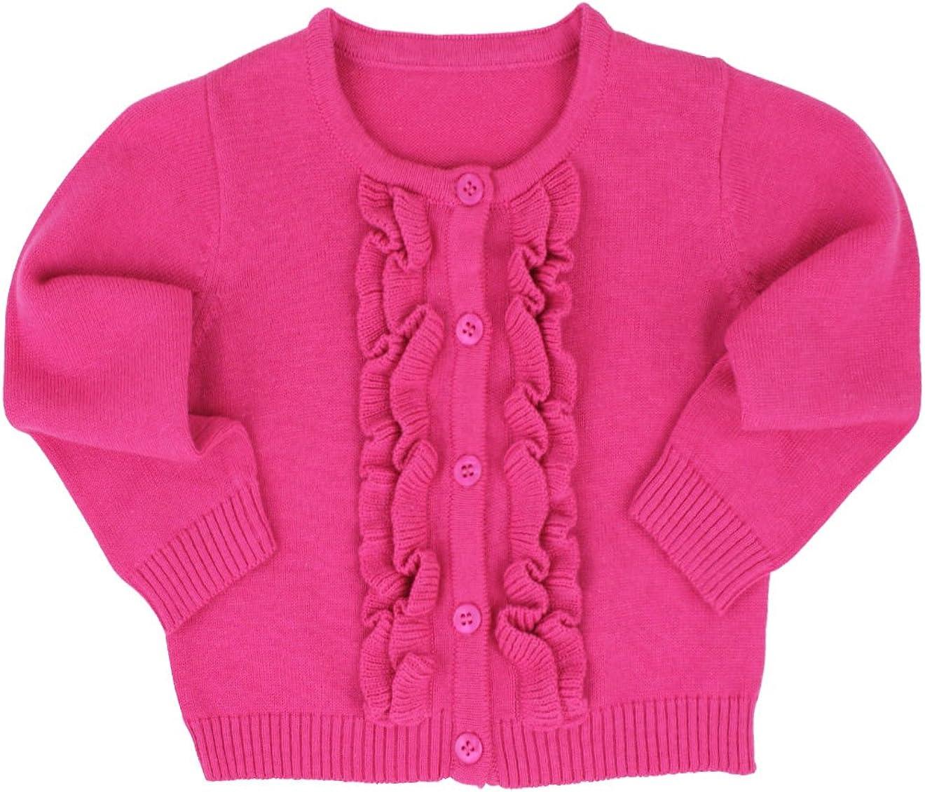 RuffleButts Baby//Toddler Girls Ruffled Long Sleeve Cardigan Button-Up Sweater