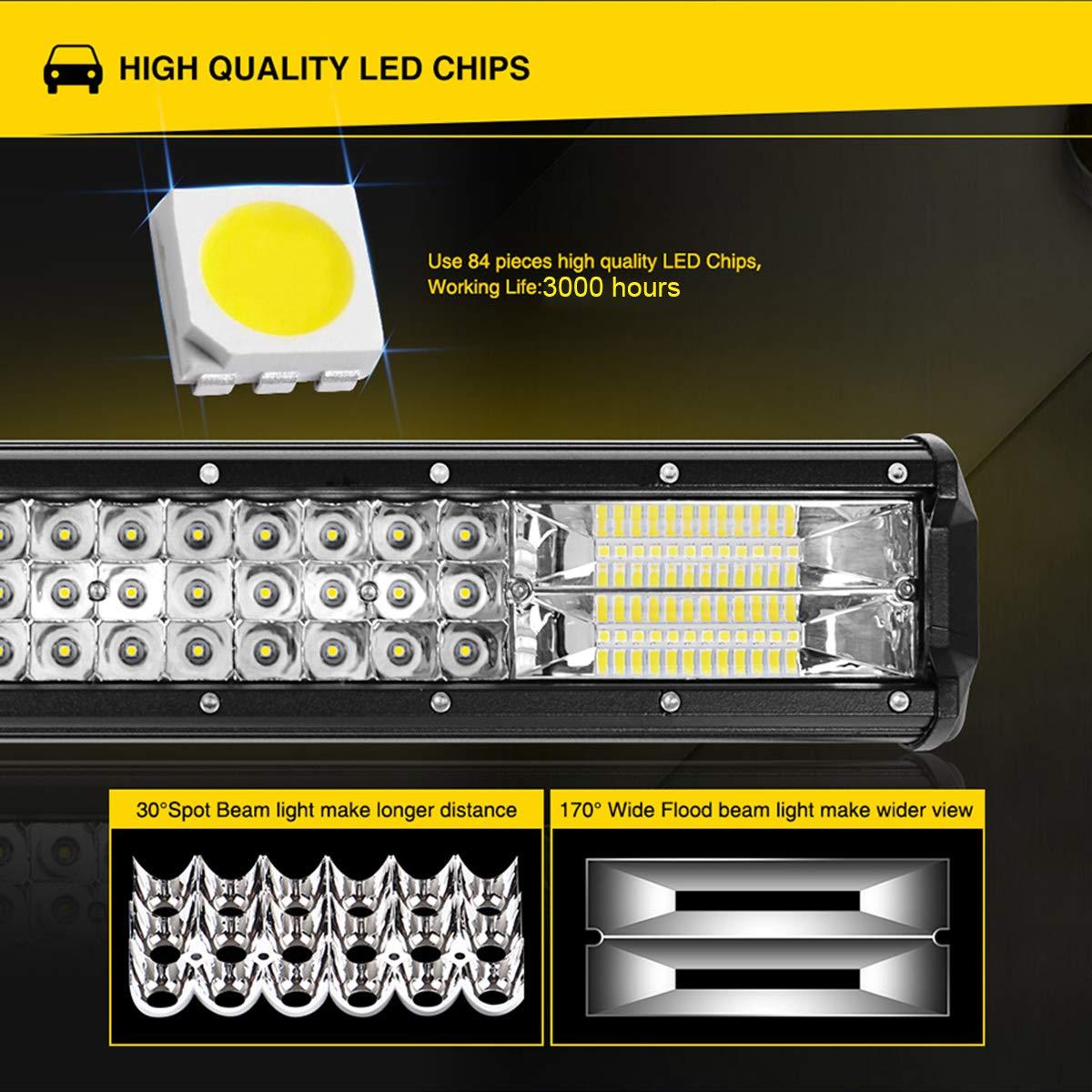 Willpower 324W LED Light Bar 22 pouces Combo Inondation Combo Led Brouillard Offroad Conduite Conduite Lumi/ères de Travail avec Faisceau de C/âblage elettrico pour ATV SUV Bateau