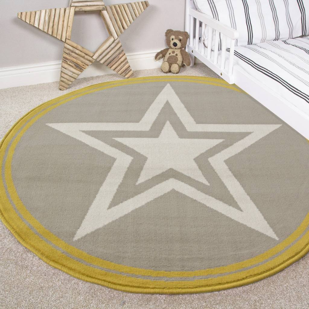 The Rug House North Star Colourful Kids Grey Ochre Designer Childrens Floor Play Area Rug Mat 80cm x 150cm S 2722-NG125 6370 KIDS