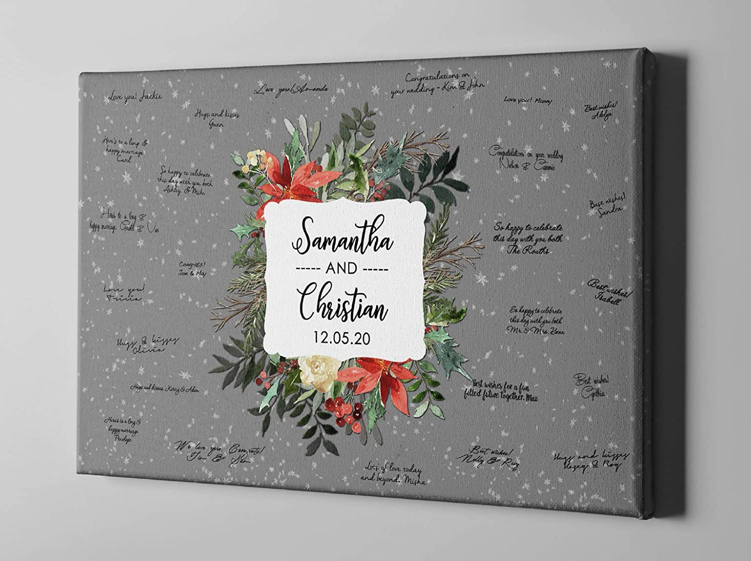 Amazon Com Christmas Canvas Guest Book Holiday Party Custom Guestbook Winter Wedding Decor Ideas Gift For Newlyweds Cgb346 Handmade