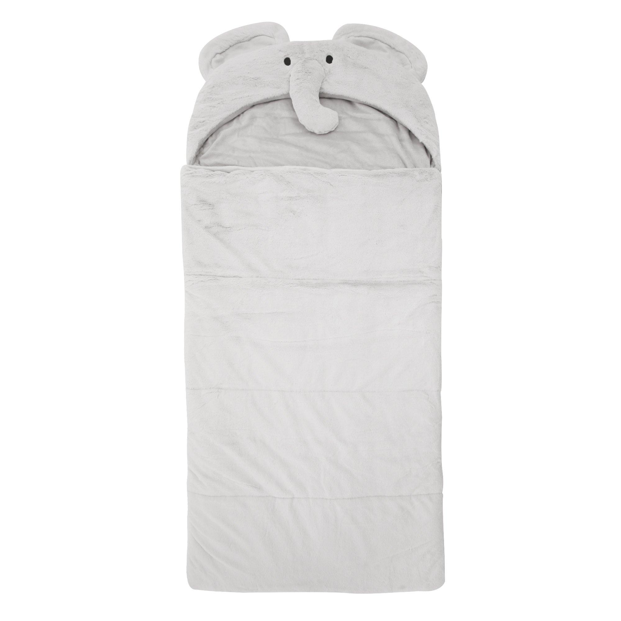 Best Home Fashion Plush Faux Fur Hooded Elephant Animal Sleeping Bag - Grey - 27''W x 59''L - (1 Sleeping Bag)