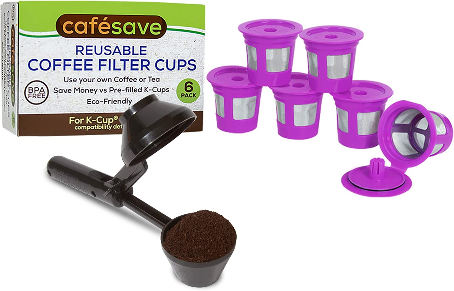2-Item Bundle Cafe Save Reusable K Cup Pod Coffee Filters 6-Pack + EZ-Scoop | 2-in-1 Coffee Scoop | Compatible with Keurig and Select Single Serve Coffee Makers