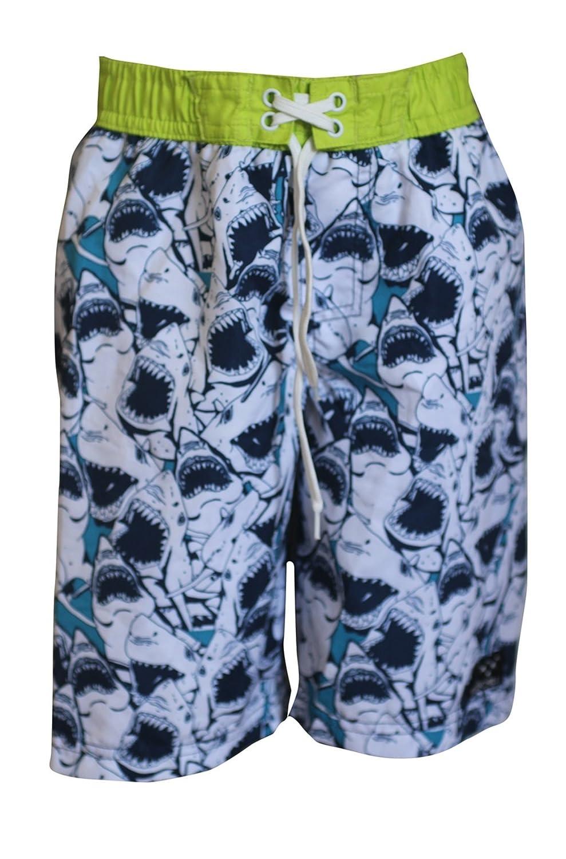 Big Chill Boy's Shark Print UV 50 Protection Mesh Inner Beach Swimming Shorts Trunks, Children/Kids