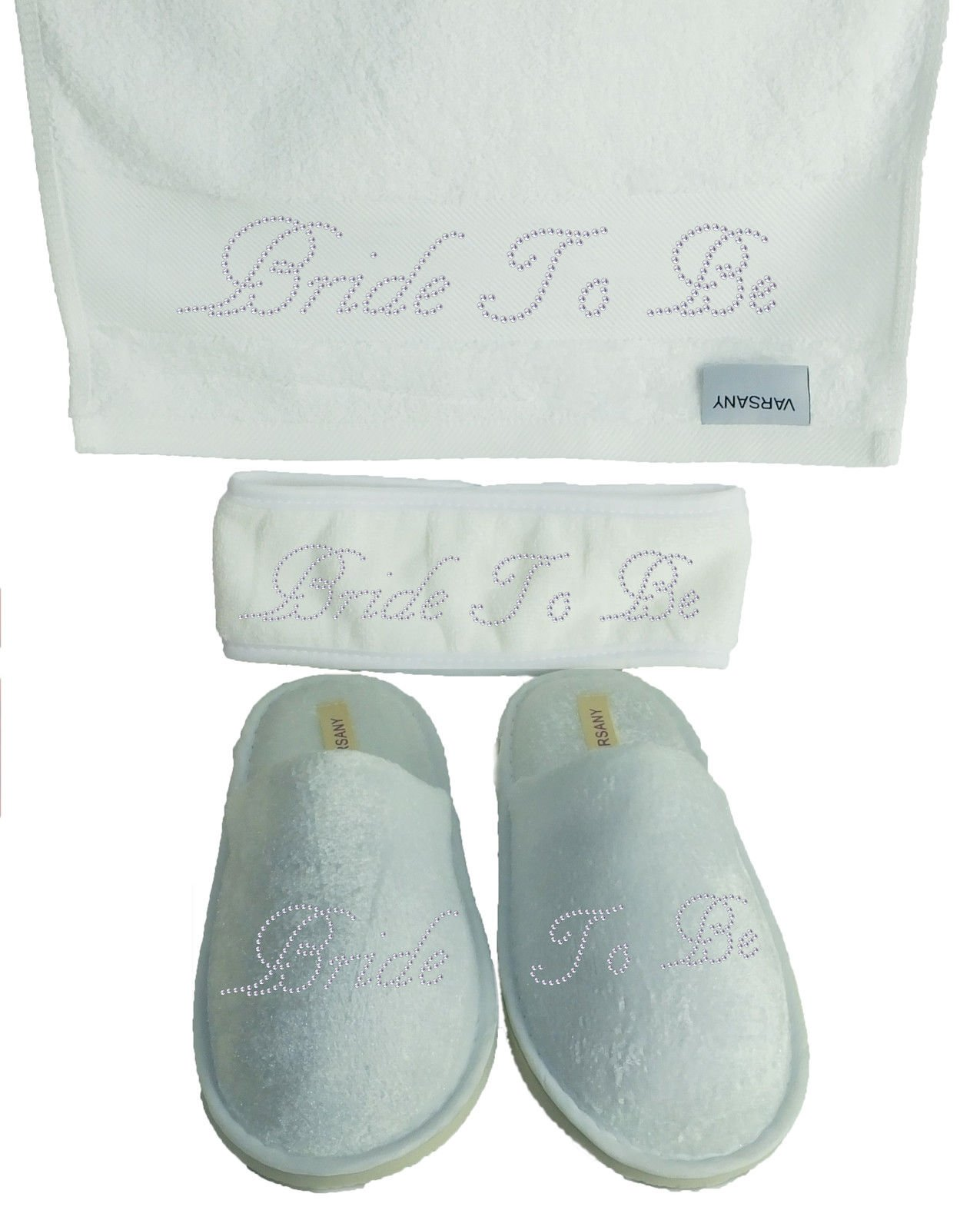 Varsany Bride To Be Spa Rhinestone Bridal Slippers+Hand Towel+Headband Honeymoon Hen Party gift