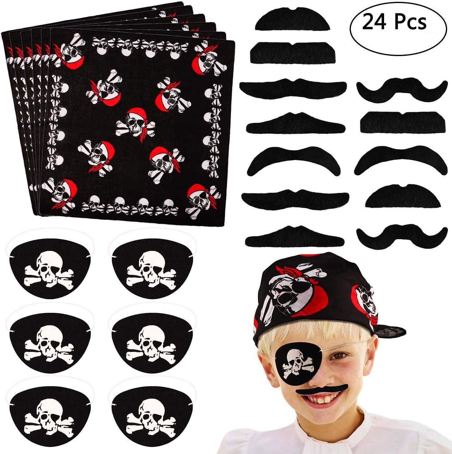 Tacobear 24 piezas Pirata Accesorios Parche Pirata Pañuelo Pirata Bigote Falso para Niños Pirata Fiesta Cumpleaños Party Accesorio