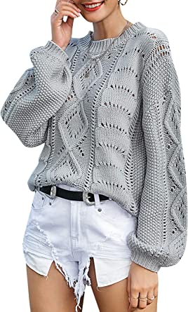 YAXAN Womens Round Neck Trumpet Sleeve Solid Color Knitted Sweater Tops Pullover Cardigan