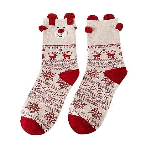 Gusspower-Calcetines de algodón Calcetines térmicos Adulto Unisex Calcetines Medias Alces de Navidad (B