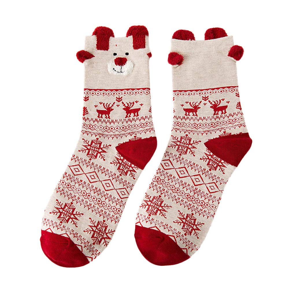 MaxFox Christmas Variety of Pattern Women's Cotton Winter Warm Socks Multi-Color Thick Novelty Mid Calf Socks (B)