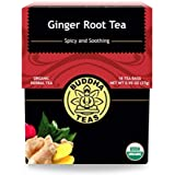Organic Ginger Root Tea, 18 Bleach-Free Tea Bags – Caffeine Free Tea Calms Upset Stomach, Relieves Joint Pain and…