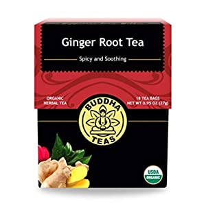 Organic Ginger Root Tea, 18 Bleach-Free Tea Bags – Caffeine Free Tea Calms Upset Stomach, Relieves Joint Pain and Inflammation, Strengthens Immune System, No GMOs