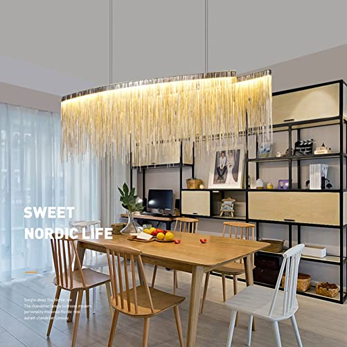 7PM W40 x H14 Modern Linear Aluminum Chandelier Light Pendant Lamp Modern Contemporary Chandelier Lighting Fixture for Dining Room Over Table