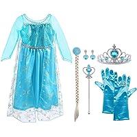 Vicloon Elsa Frozen Costume,Set da Principessa Elsa Corona Bacchetta Guanti Treccia,Ragazze Elsa Principessa delle Neve Abiti Partito Vestito Costume