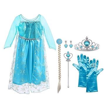 46664004176bcf Vicloon Ice Queen Prinzessin Kostüm Kinder Deluxe Fancy Blaues Kleid ...