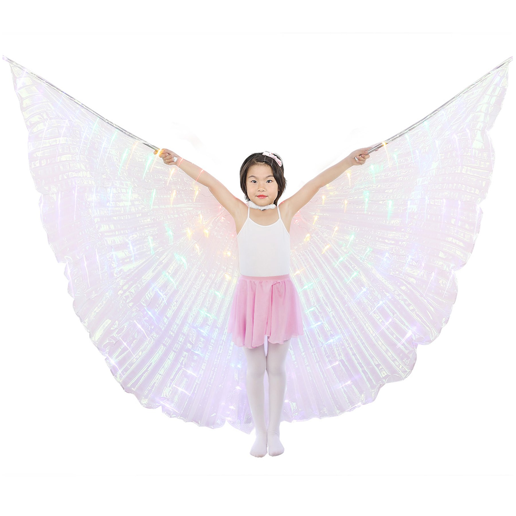 Dance Fairy Belly Dance LED Angel Isis Wings Flexible Sticks (Colorful-Child)