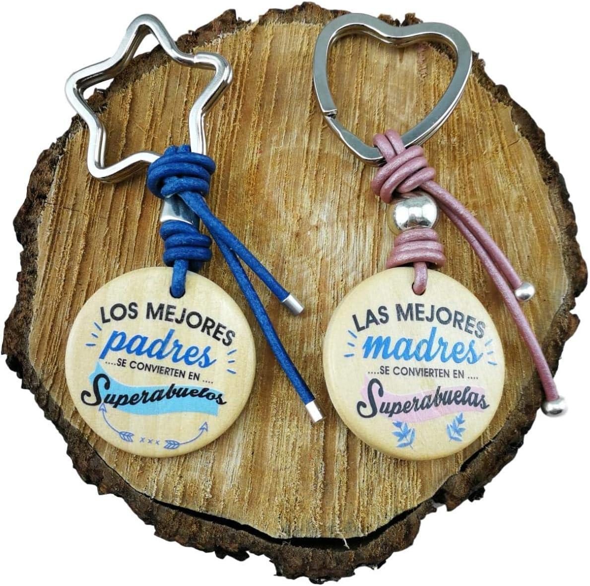 Pareja LLAVEROS Madera Frase Mejores Padres / Madres SE CONVIERTEN EN SUPERABUELO/SUPERABUELA